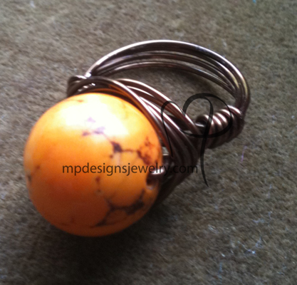 Orange Turquoise Round Gemstone Gun Metal Wire-wrapped Ring
