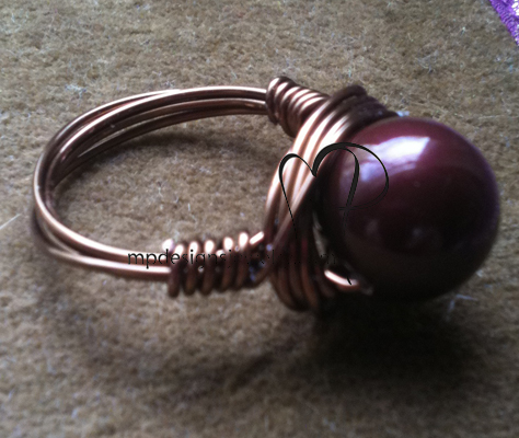 Maroon Swarovski Crystal Pearl Gun Metal Wire-wrapped Ring