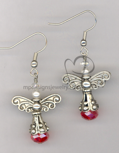 Angels Wings ~ Red Crystal White Swaroski Pearl Silver Earrings