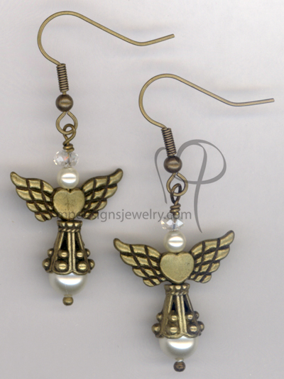 Angels Wings ~  Swarovski Creamy White Pearl Antiqued Gold  Heart Earrings