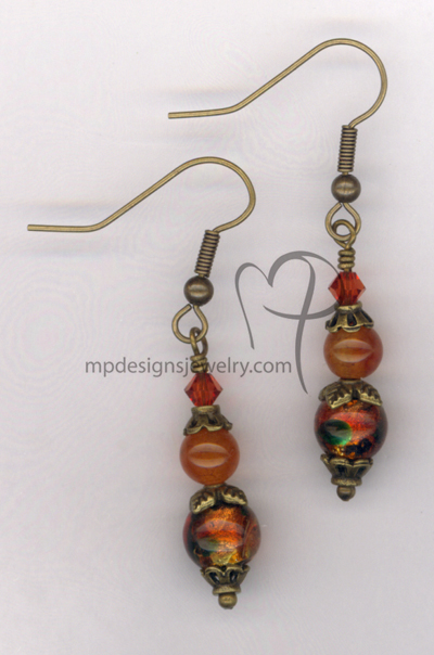 Indian Summer ~ Gemstone Dichroic Art Glass Swarovski Crystal Antiqued Gold Earrings