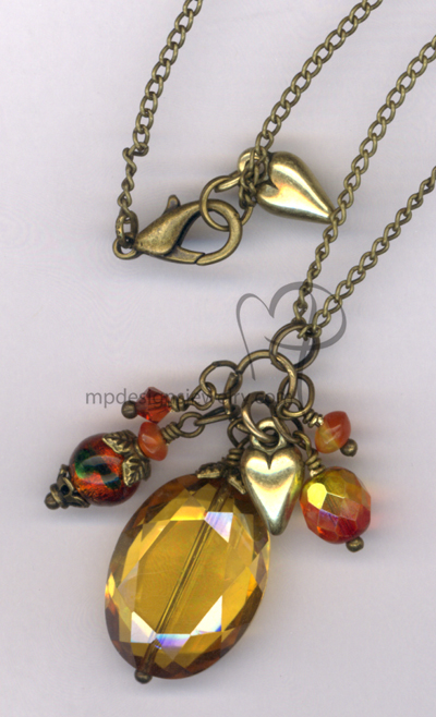 Indian Summer ~  Topaz Dichroic Swarovski Crystal Antiqued Gold Charm Necklace