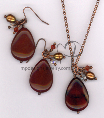 Fall In Love ~ Copper Carnelian Pearl Crystal Teardrop N/E Set