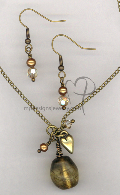 Butter Gold ~ Antiqued Gold Pearl Swarovskic Crystal Necklace Earrings Set