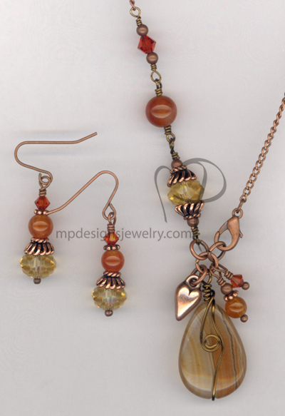 Caramel Swirl ~ Gemstone Copper Swarovski Crystal Necklace Earrings Set