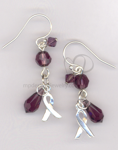 Awareness Ribbon Purple Swarovski Crystal Sterling silver Earrings