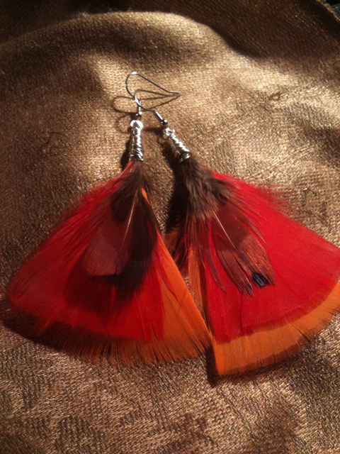 Fancy Fethered Oranged Earrings
