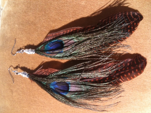 Peacock Blue/Brown Feather Earrings