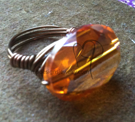 Topaz Crystal Bronze Gun Metal Wire-wrapped Ring