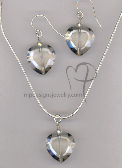 Love Me Forever ~ Clear Crystal Heart Necklace Earrings Set