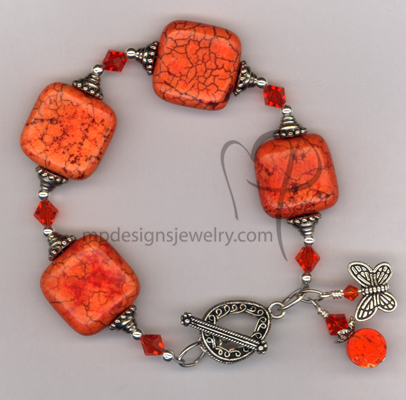 Orange Slice Turquoise Swarovski Crystal Bracelet