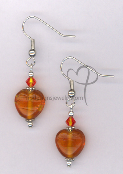 Whimsy Heart Orange~ Swarovski Crystal Lampwork Silver Plated Hypo-allergenic Earrings