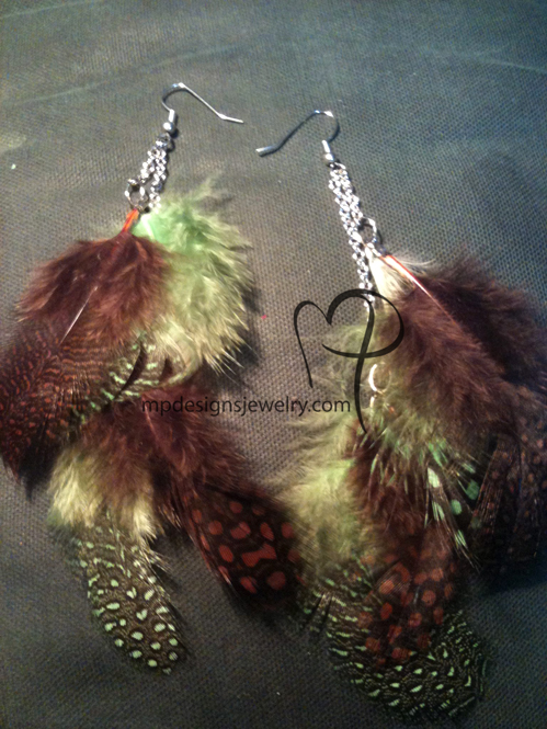 Brown Green Soft Feather & Chain Earrings