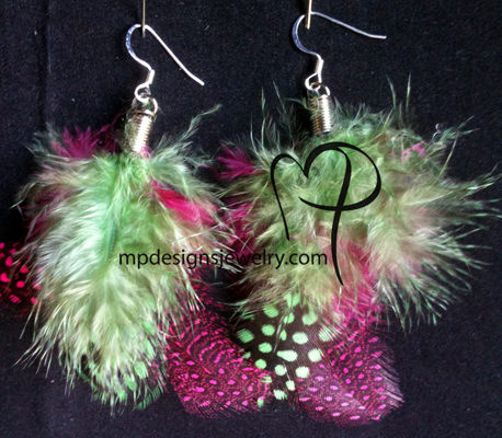 Pink Green short Feather Earrings