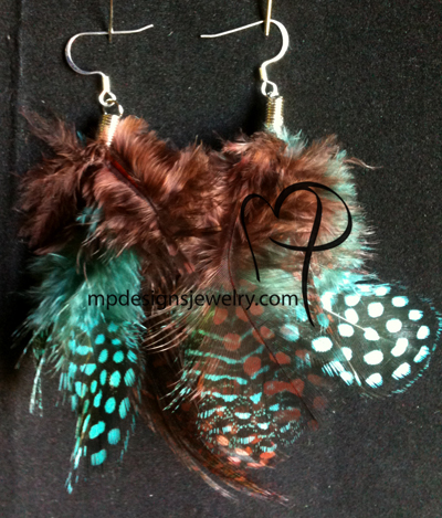 Polka Dot Blue Brown long Feather Earrings
