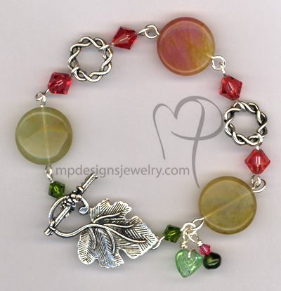 Seasons Change ~ Gemstone Swarovski Crystal Silver Leaf Toggle Bracelet