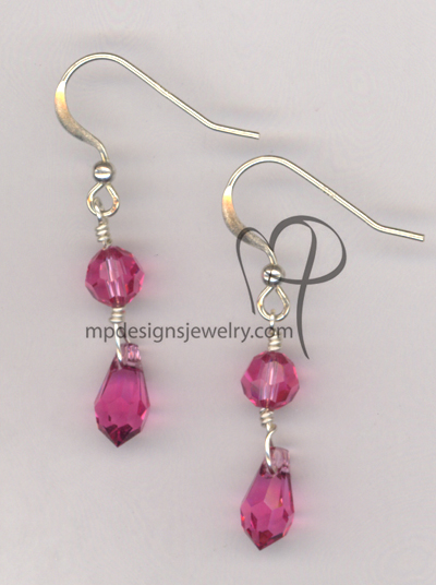 Rose Pink Swarovski Crystal Sterling Silver Earrings