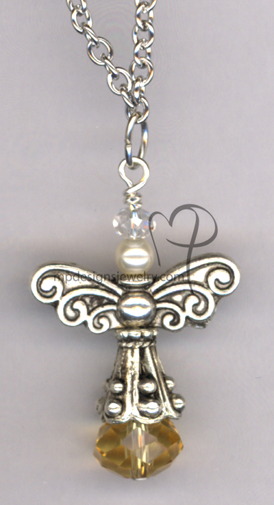 Angels Wings ~  Swarovski White Creamy Pearl Topaz Crystal Necklace