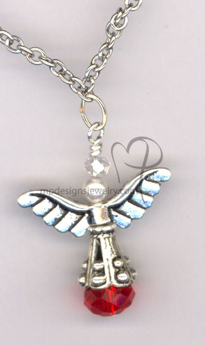 Angels Wings ~  Swarovski White Pearl Red Crystal Silver 2 Necklace