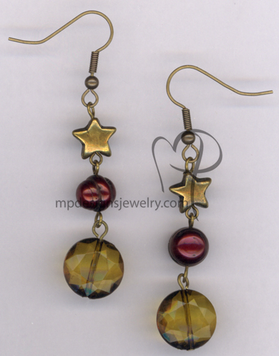 Cranberry Celebration ~ Antiqued Gold Cranberry Pearl Star Earrings