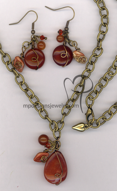 Spicey Swirl ~ Gemstone Wire-wrapped Crsytal Antiqued Gold Jewelry Set