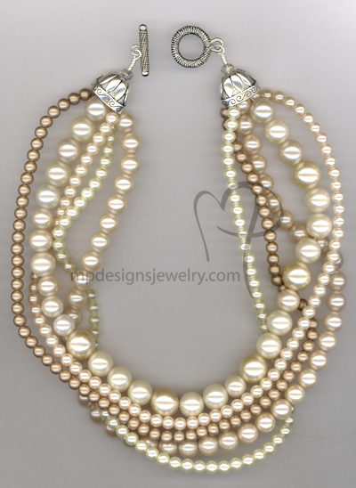 Creamy Pearl Multi-strand Necklace