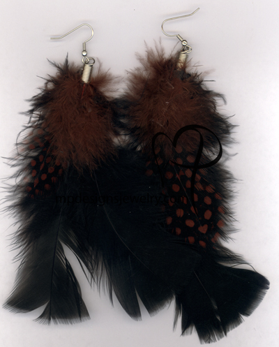 Black and Brown Feather Earrings
