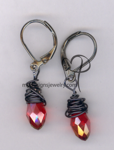 Wrapped In Love ~ Artisan Red Crystal Drop Black Earring