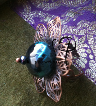 Antiqued Copper Flower  Blue Black Crystal Ring