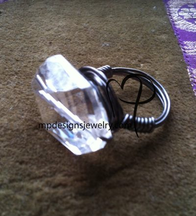 Chunky Crystal Bling Black Artistic Wire Wrapped Ring