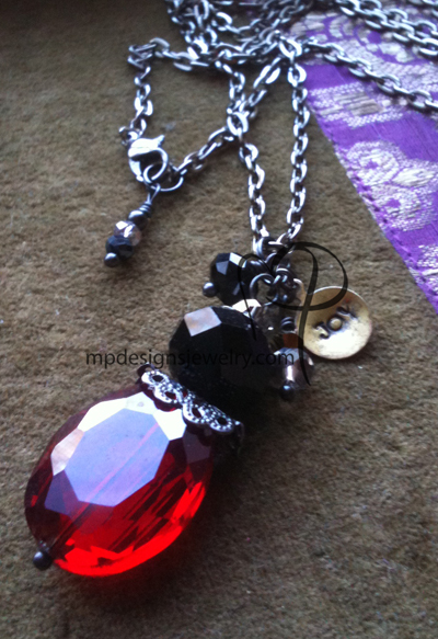All That Glitters ~ Red Black Crystal Gun Metal Joy Charm Necklace