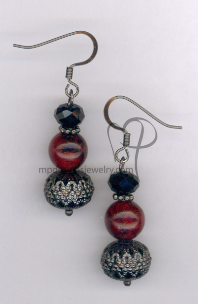 Dashing ~ Red Black Chrysocolla Gemstone Crystal Earrings