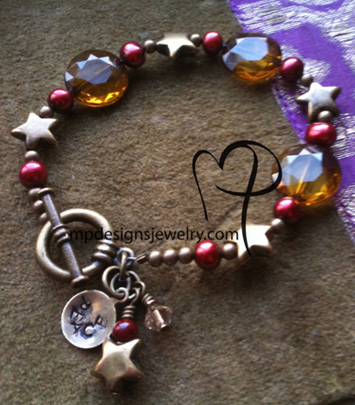 Peace ~ Cranberry Freshwater Pearl Antiqued Gold Star Bracelet