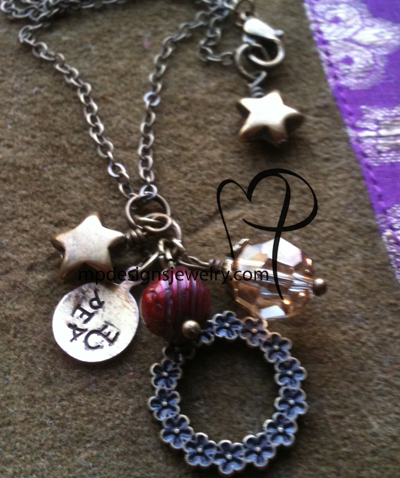 Peace ~ Cranberry Freshwater Pearl Antiqued Gold Star Brass Charm Necklace