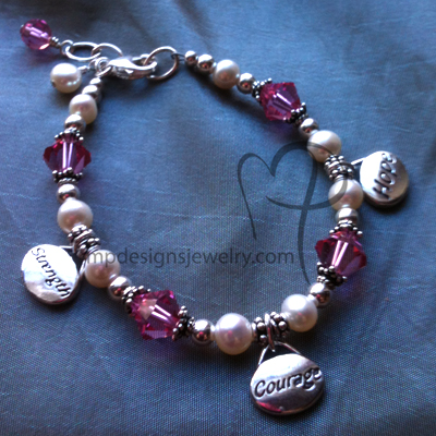 Never Give Up! ~ Awareness Hope, Courage, Strength Sterling Silver Swarovski Crystal Pearl Bracelet