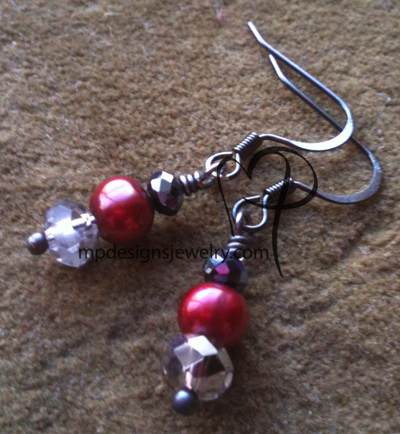 A Little Dashing ~ Jet Crystal Cranberry Pearl Gun Metal Earrings