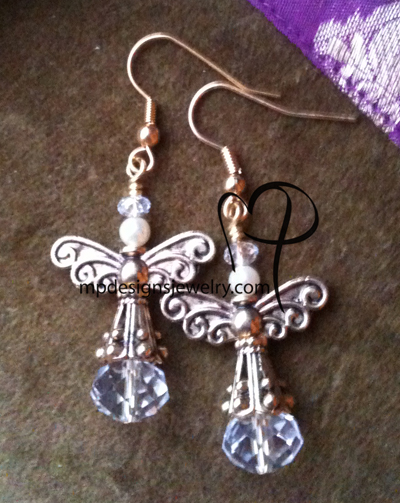 Angels Wings ~  Swarovski Creamy White Pearl Gold Earrings