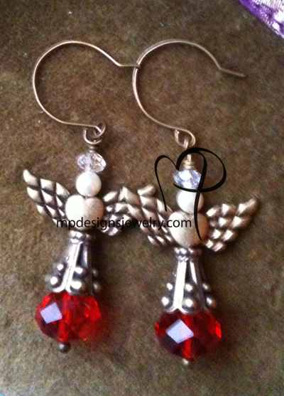 Angels Wings ~  Red Swarovski Creamy White Pearl Antiqued Gold Heart Earrings