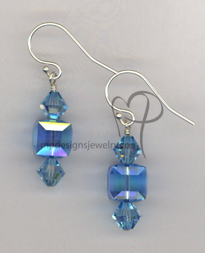 Aquamarine Swaraovski Crystal cube Sterling Silver Earrings