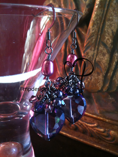Passion ~ Purple Crystal Heart Cluster Gun Metal Earrings