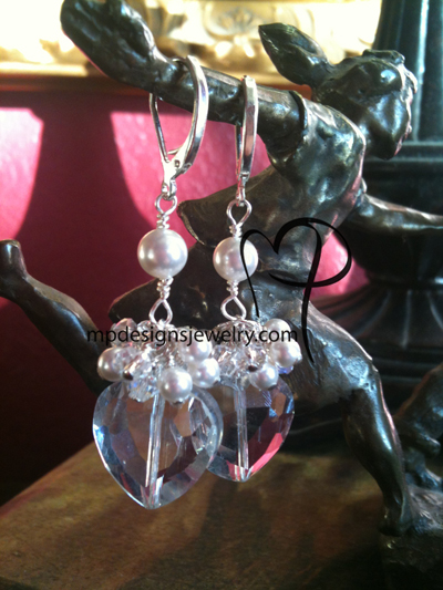 Passion ~  Crystal Pearl Heart Cluster Silver Plated Earrings