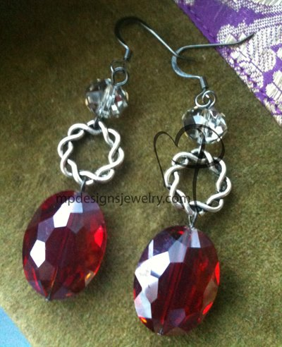 Big, Bold, and Beautiful - Red Crystal Silver Earrings