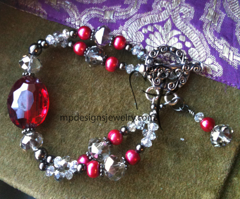 red chunky big bold beautiful toggle crystal bracelet