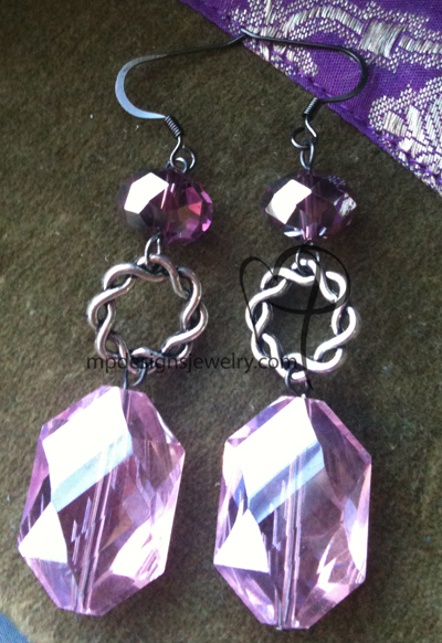 pink chunky crystal link gm earrings