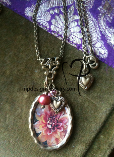 Pink Dahlia ~ Victorian Brass Charm Necklace