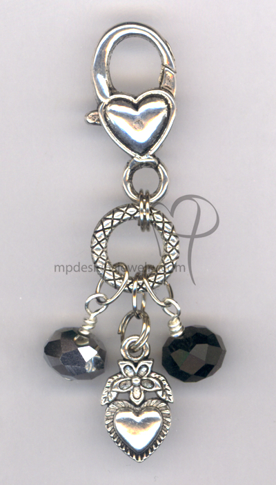Be Mine! Large Heart Black Crystal Handbag/Key Charm