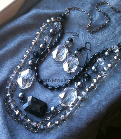 Cascading Crystals ~ Black Layered Crystal Chain Necklace/Earrings Set