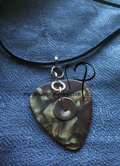 Personalized Hand Stamped Charm Guitar Pick Necklace
