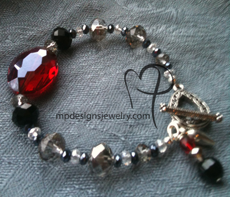 Big, Bold, and Beautiful -Black Red Crystal  Filiagree Charm Bracelet