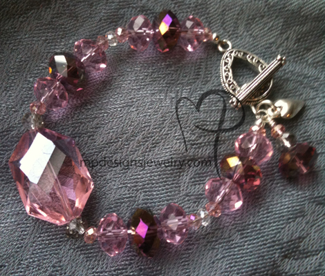 Big, Bold, and Beautiful -Pink Purple Crystal Filigree Charm Bracelet
